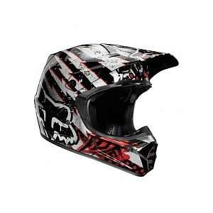 Fox Racing V3 Helmet Riot Black/Red   2011