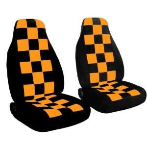 2 black and orange checkered car seat covers for a 2003