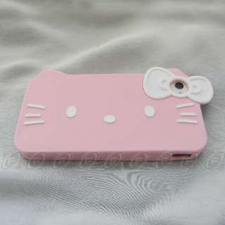 White Hello Kitty Silicone Soft Back Case Cover For iPhone 4S 4 4G