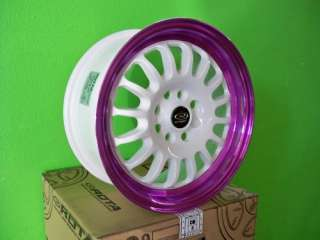 15 ROTA TRACK R WHITE RIMS WHEELS INTEGRA DEL SOL XB XA