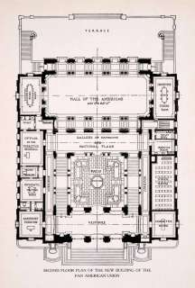 1911 Wood Engraving Second Floor Plan Building Construction Pan