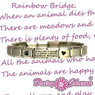 JSC RAINBOW BRIDGE   PET LOSS Italian Charm Bracelet