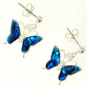 Beautiful Natural Blue Abalone Paua Shell Butterfly Earrings In Gift