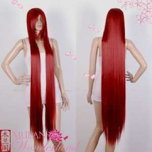 51 Extra Long Bang Wine Red Straight Cosplay Costume Wig