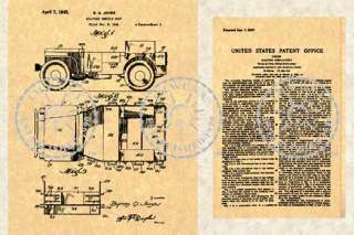 42 JEEP WILLYS Military Vehicle Patent WWII GP GPW 626