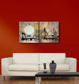 322 ABSTRACT ART PAINTINGs CITY acrylic ORIGINAL Blatt