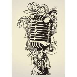 Vinyl Wall Art Decal Sticker Urban Style Microphone Mic
