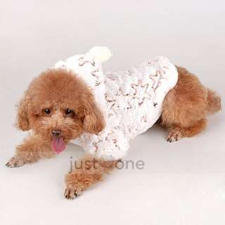 Chic White Pet Doggie Dog Apparel five pointed Star Winter Warm Soft