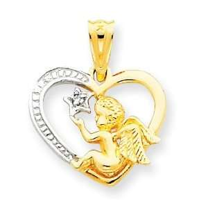 Polished Casted Angel In Heart Charm in 14k Yellow Gold