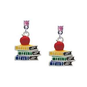 Enamel School Books with a Red Apple Light Pink Swarovski Post Charm