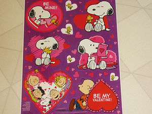 NEW VALENTINES DAY PEANUTS SNOOPY & CHARLIE BROWN STATIC WINDOW CLINGS