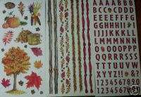 LOT FALL AUTUMN LEAVES TREE BORDERS SCRAPBOOK STICKERS