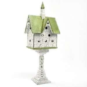 Mini Decorative Pedestal Green Roof Steeple Bird House
