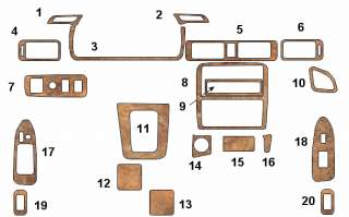 TOYOTA CAMRY 97 WOOD STYLE INTERIOR DASH TRIM KIT PARTS