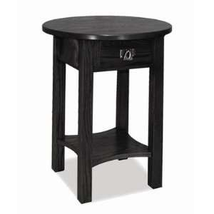 Round Black End Table (Slate) (24H x 18W x 18D)
