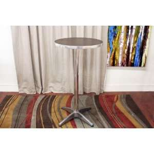 Round Bar Table with Brown Wood Top Aluminum Legs