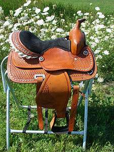 BLACK Seat Leather Show Saddle Horse HS/BS NEW Western Barrel Racer