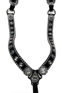 AB SWAROVSKI CRYSTALS on black leather. Beautiful breastcollar