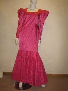 COSTUME~Hot Pink Satin&Lace Mermaid Lg Gown MAE WEST, DIVINE, DRAG