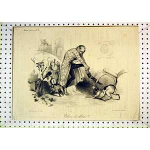 Antique French Comedy Print Man Dog Cat Accident Table