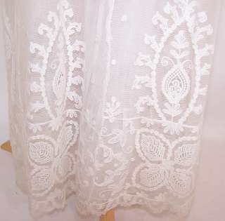 Edwardian Vtg White Net Tambour Embroidery Lace Empire Waist Wedding