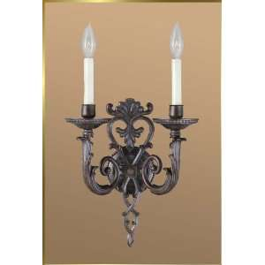 Wrought Iron Wall Sconce, JB 7328, 2 lights, Antique Brown, 12 wide X