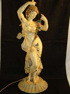 Antique FRENCH ART NOUVEAU Lady STATUE Old FRANK MOREAU Figural