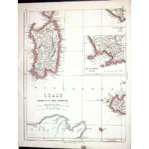Lowry Antique Map 1853 Italy Sardinia Corsica Bay Naples