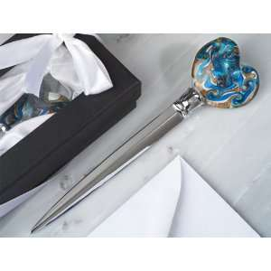 Murano art deco letter opener heart shaped glass top (Set of 6) Baby