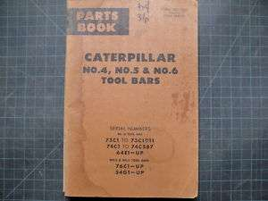 CAT Caterpillar 4 5 D4 D5 D6 Tool Bar Parts Manual Book