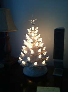 inch lighted handmaid ceramic Christmas tree   white with clear lights
