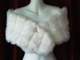 WHITE SUPER MINKY FAUX FUR WRAP SHRUG STOLE SHAWL NEW