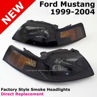 Ford Mustang 99 04 Cobra Style Smoke Lens Headlights Lamps Amber