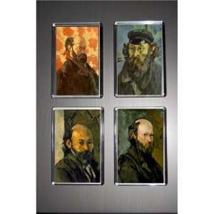 Set of 4 Art Fridge Magnets Cezanne Self Portraits