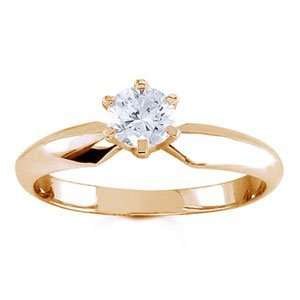 18k Yellow Gold, Round Diamond Solitaire Engagement Ring