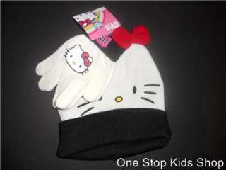 HELLO KITTY Toddler Girls Winter Set HAT & GLOVES Cap Mittens