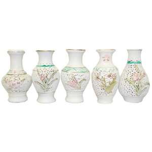 White Miniature Cutwork Flower Bud Vases, Hand Painted