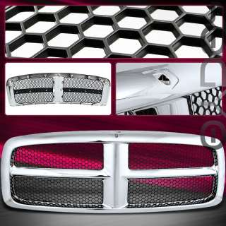 EURO CHROME/BLACK DODGE RAM FRONT GRILL REPLACEMENT HONEY COMB STYLE