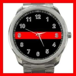 Thin Red Line Fire Fighter Courage Sports Metal Watch