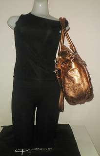 MAKOWSKY HANDBAG NUTMEG GLOVE LEATHER NADIA STUDS TOP ZIP SHOULDER