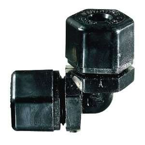 Compression fittings, Union elbows; Black PP, 3/8 OD, 1 23/32 x 1 23