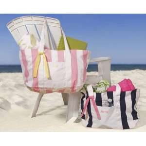 Baby Keepsake Personalized Candy Striped Beach Tote Bag   Pink Baby