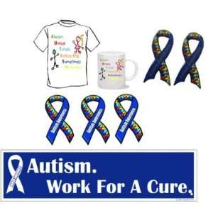 Autism Awareness Package   1 shirt, 1 mug, 2 pins, 3 ribbon magnets