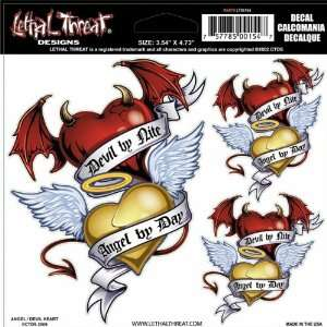 Threat Designs Angel/Devil Heart 6 x 6 Decals Motorcycle Graphic