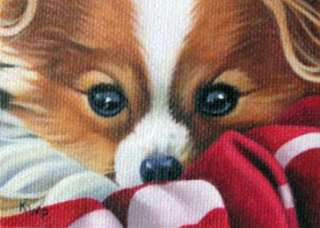 ACEO Art magnet Print Papillon Dog Puppy Patterson