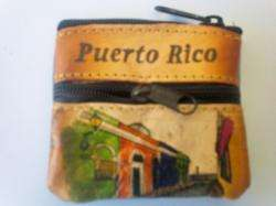 Puerto Rico Handpainted Leather Mini Coin Purse Bag Hand Bag Souvenirs