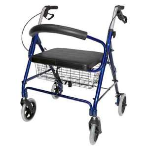 Lightweight Extra Wide Heavy Duty Aluminum Rollator, Royal