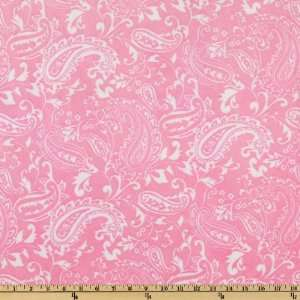 60 Wide Minky Paisley Cuddle Hot Pink/White Fabric By
