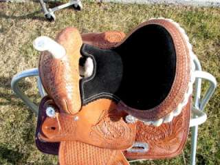 14MEDIUM DARK OIL Western Trail Barrel Racer Saddle 5PC SET