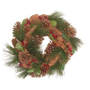 16 Naturalistic Pine Cones and Berries Artificial Christmas Wreath